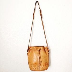 Handbags - Hand Tooled Leather Draw String Bucket Crossbody